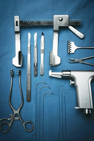 Tools for open heart surgery: armamentarium, skin knife, Weitlaner retractor, sternum saw, Finochietto retractor, sutures, pericardium, rake retractor, needle holder