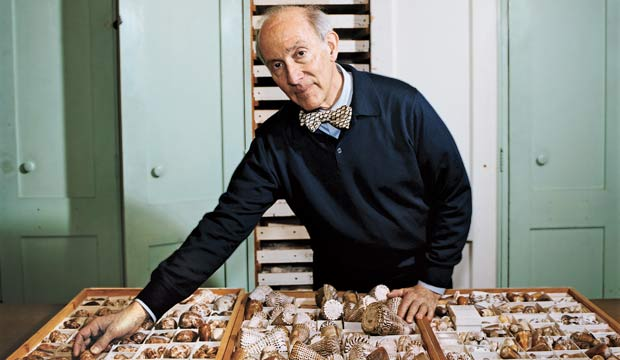 Eric Chivian with cone snails at the Harvard Museum of Comparative Zoology