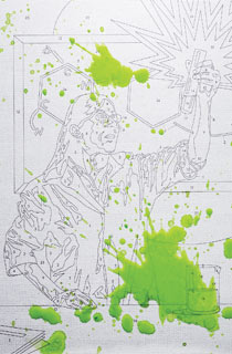 Paint by numbers splattered with green paint