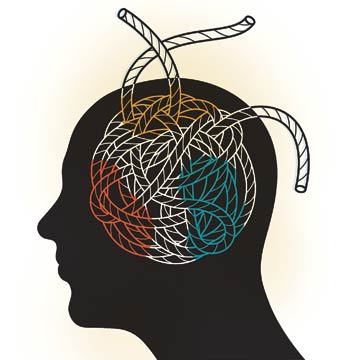A tangled ball of yarn inside of an illustration of a human head